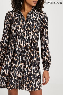 River Island Brown Shirt Smock Mini Dress