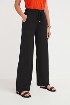 Black Wide Leg Jersey Trousers