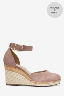 Blush Leather Closed Toe Wedges