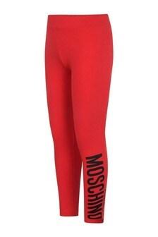 Girls Red Cotton Jersey Logo Leggings
