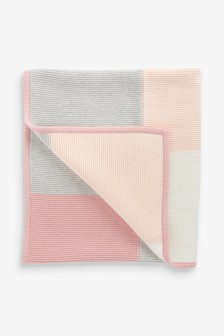 Pink Patchwork Knitted Blanket (Newborn)