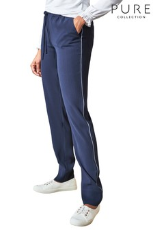 Pure Collection Blue Relaxed Crepe Track Pants