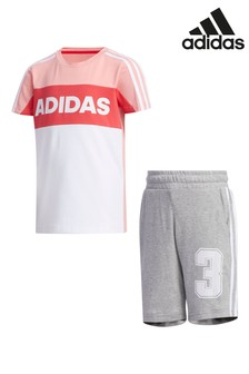 adidas Little Kids Pink T-Shirt And Short Set