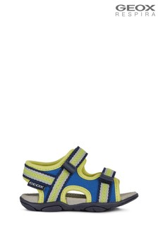Geox Baby Boys' Agasim Royal Blue/Lime Green Sandals