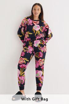 Black Floral Cosy Pyjamas In Gift Bag