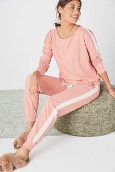 Peach Side Stripe Cotton Blend Pyjamas