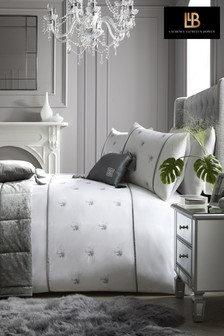 Laurence Llewelyn-Bowen Midnight At The Oasis Embroidered Palm Trees Duvet Cover and Pillowcase Set