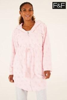 F&F Pink Pink Heart Zip-Through Robe
