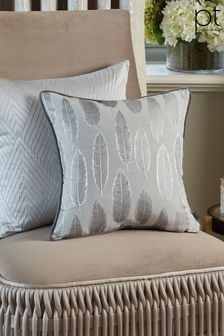 Quill Silver Feather Cushion by Prestigious Textiles