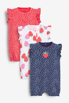 Navy/Red 3 Pack Strawberry Rompers (0mths-3yrs)