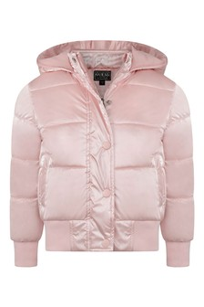 Girls Pink Padded Jacket With Hood
