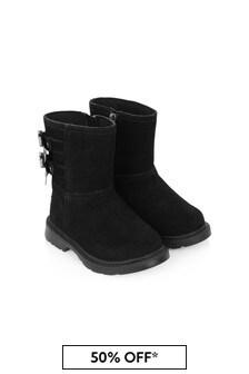 Girls Black Suede Tillee Boots