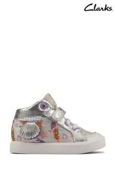 Clarks Silver Combi City Pop T Canvas Shoes
