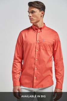 Coral Slim Fit Slim Fit Roll Sleeve Lightweight Twill Shirt