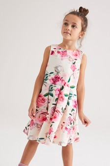 Pink/Cream Floral Occasion Dress (3-16yrs)