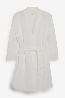 White Textured Cotton Robe