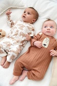 Tan 2 Pack Rib Bear Footless Sleepsuits (0mths-3yrs)