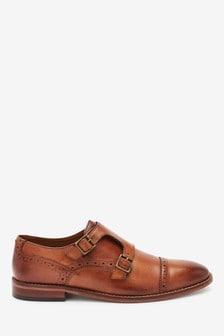 Tan Leather Toe Cap Monk Shoes