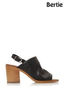 Bertie Issi Black Leather Stacked Slingback Mules