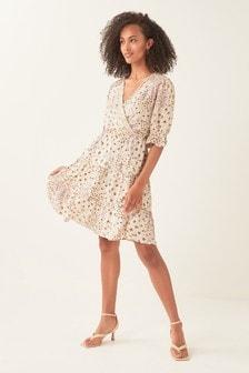 Ecru Paisley Print V-Neck Mini Dress