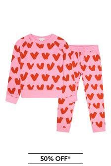 Girls Pink Cotton Tracksuit