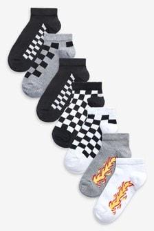 Monochrome 7 Pack Cotton Rich Flame Socks (Older)