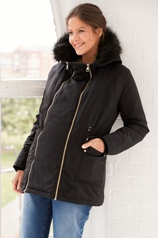 Black Maternity 2 In 1 Parka