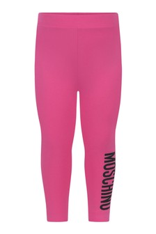 Baby Girls Fuchsia Cotton Logo Leggings