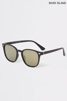River Island Black Gold Flash Slim Wayfarer Sunglasses