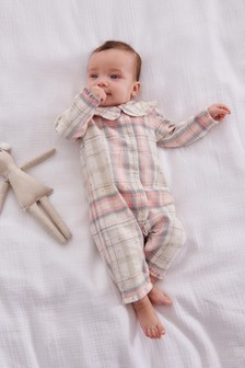 Pink Brushed Flannel Check Pyjama All-In-One (0mths-3yrs)