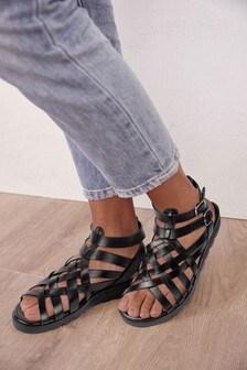 Black Regular/Wide Fit Forever Comfort® Slotted Wedge Gladiator Sandals
