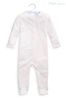 Ralph Lauren Pink Logo Velour Babygrow