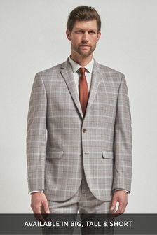 Light Grey/Tan Regular Fit Check Suit: Jacket