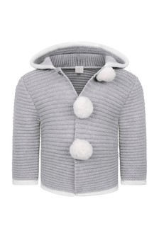 Baby Boys Grey Wool Knitted Pram Coat