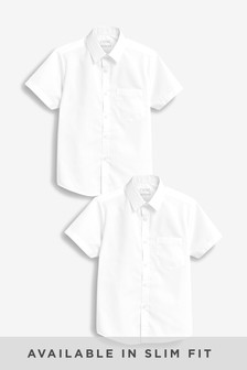 White 2 Pack Short Sleeve Shirts (3-17yrs)