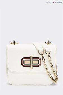 Tommy Hilfiger White Leather Turnlock Mini Crossover Bag