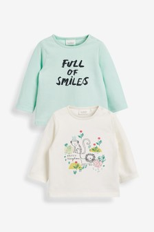 Mint/Ecru GOTS Organic Cotton 2 Pack Character tops (0mths-2yrs)