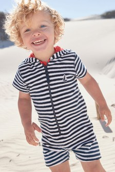 Navy Stripe Towelling All-In-One (3mths-7yrs)