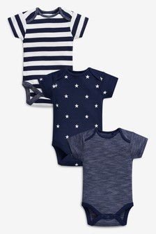 Navy/White 3 Pack Stripe And Star Short Sleeve Bodysuits (0mths-2yrs)