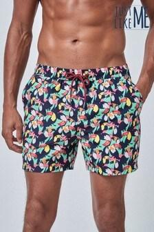 Multi Green Toucan Print Swim Shorts