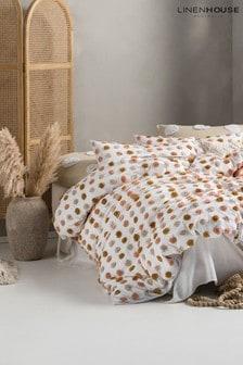 Pink Haze Tufted Spot Duvet Cover and Pillowcase Set by Linen House