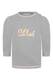 Baby Girls Grey Cotton Logo Sweater