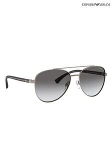 Emporio Armani Silver Aviator Style Sunglasses