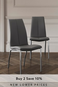 Faux Leather Dark French Grey Set of 2 Opus Dining Chairs with Chrome Legs