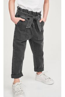 Charcoal Grey Paperbag Waist Tie Jeans (3-16yrs)