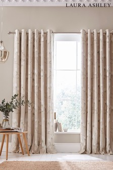 Laura Ashley Natural Magnolia Grove Eyelet Curtains