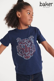 Baker by Ted Baker Navy Lion Graphic T-Shirt