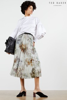 Ted Baker White Flavvia Vanilla Printed Pleated Skirt