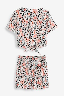 Rust Animal Print Co-ord T-Shirt And Shorts Set (3-16yrs)
