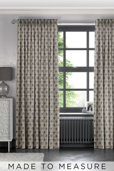 Hallam Pewter Natural Made To Measure Curtains